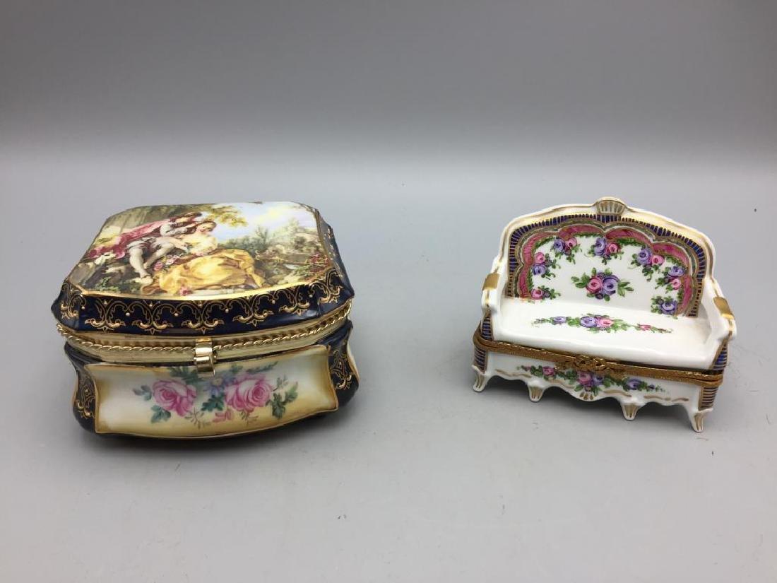 Lot of two modern limoge porcelain dresser boxes