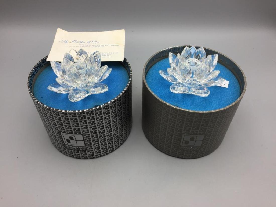 Pair Swarovski Crystal candle stands