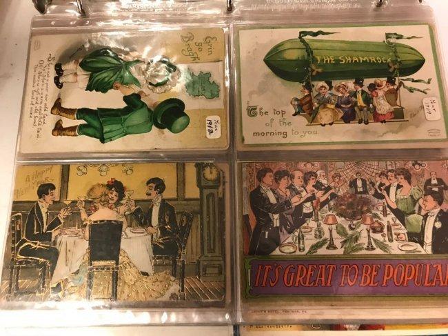 Large group antique postcard