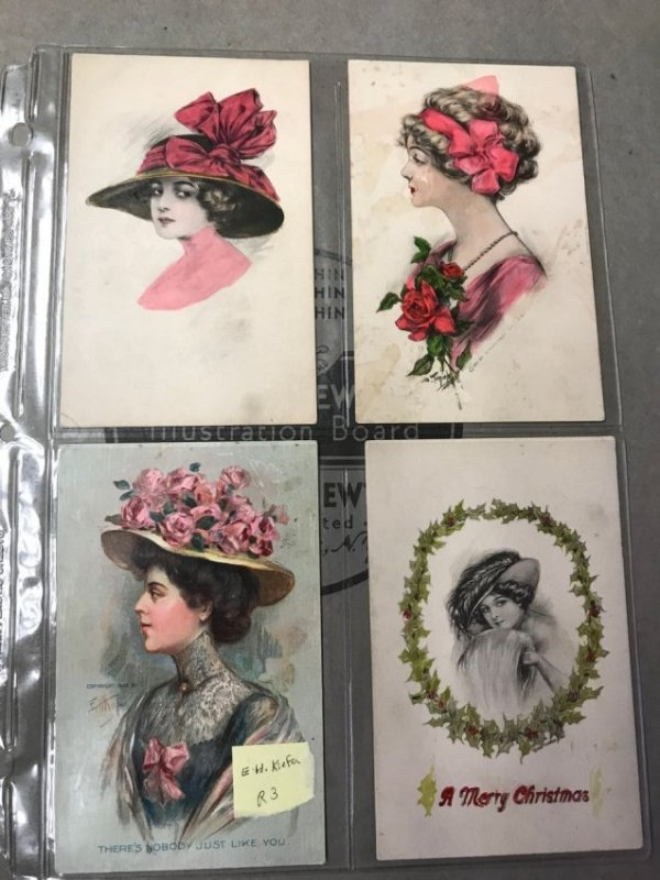Large grouping of antique postcards