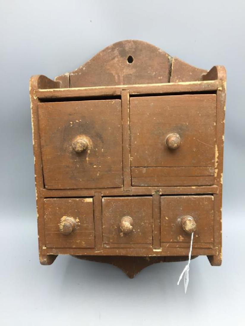Primitive wall hanging spice cabinet