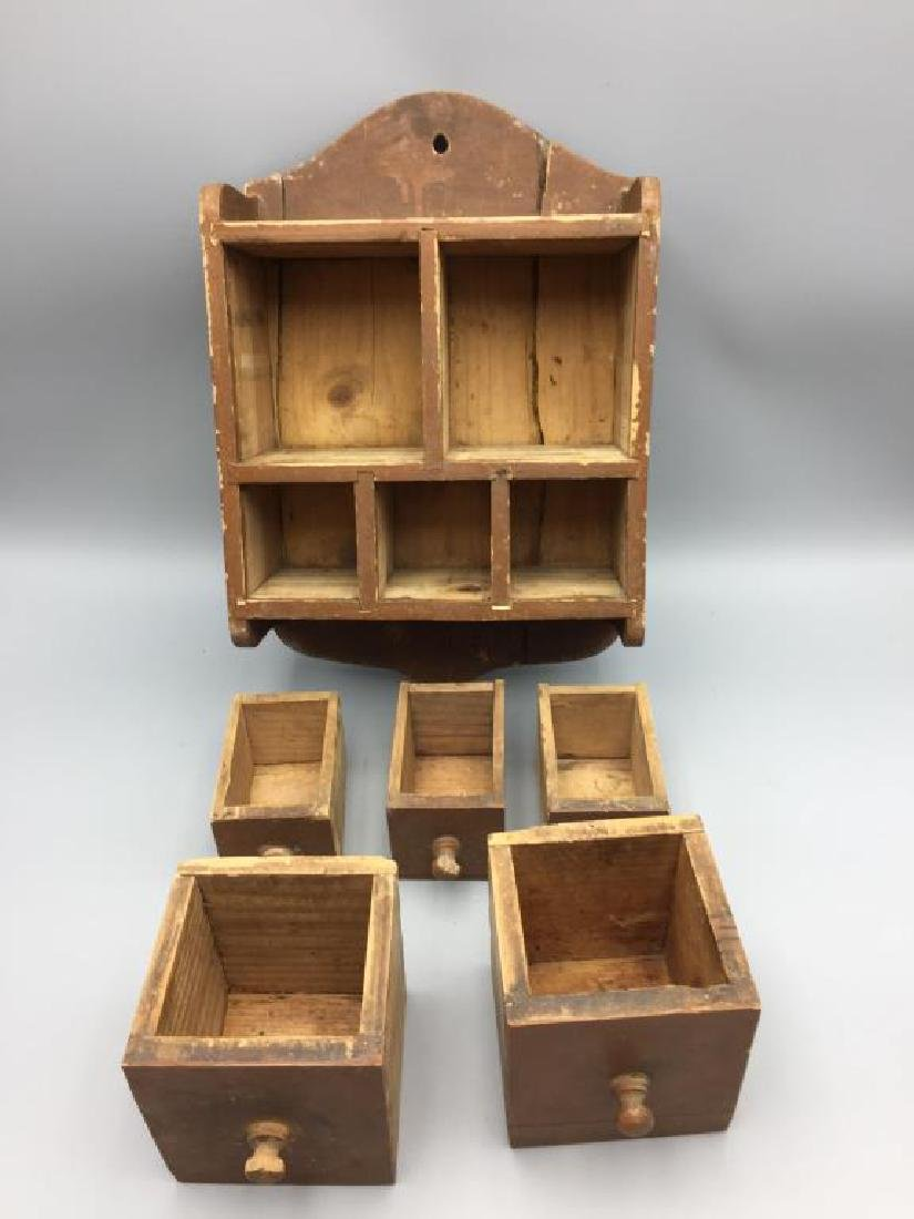 Primitive wall hanging spice cabinet - 2