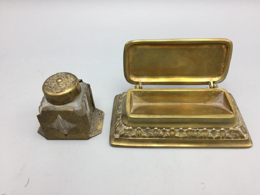 Brass desk set with letter opener pens and inkwell - 2