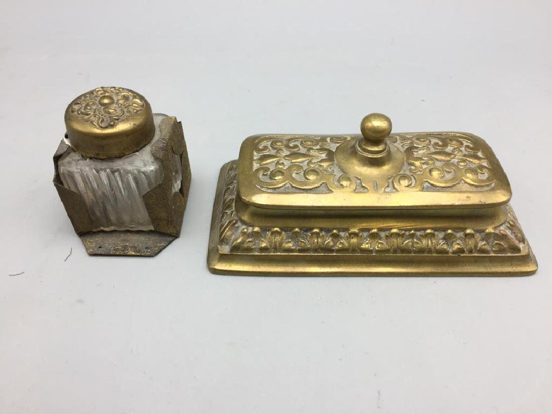 Brass desk set with letter opener pens and inkwell - 3