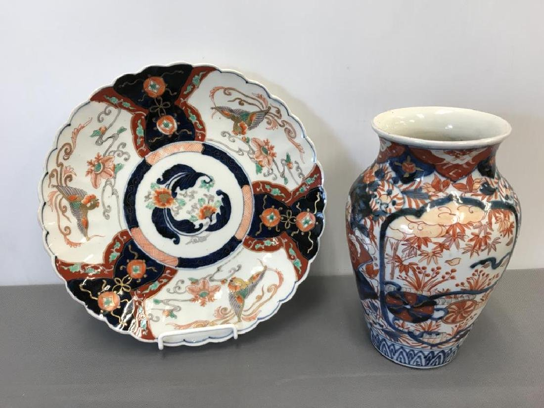 Satsuma vase and plate