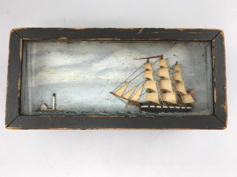 Maritime box, small pine box, painted black with
