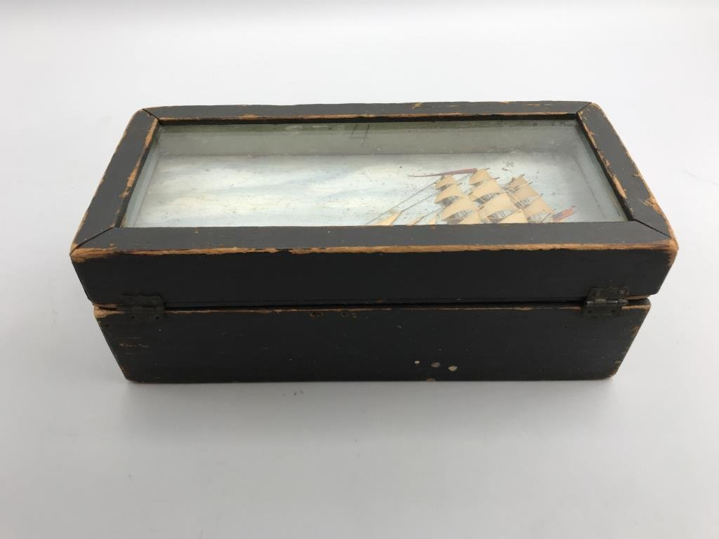 Maritime box, small pine box, painted black with - 2