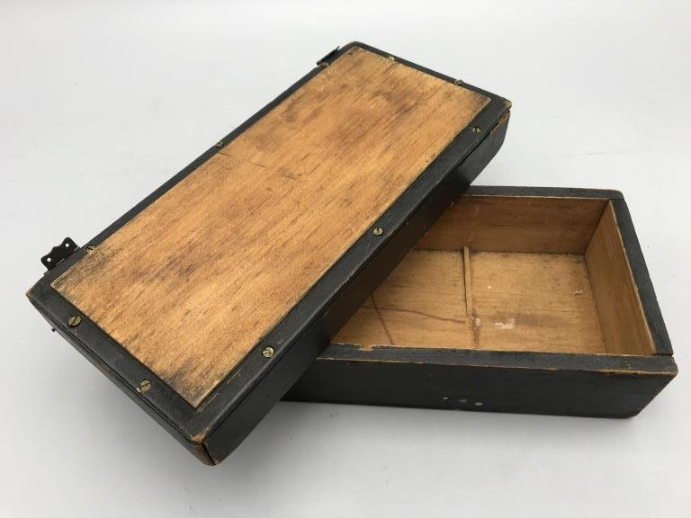 Maritime box, small pine box, painted black with - 3