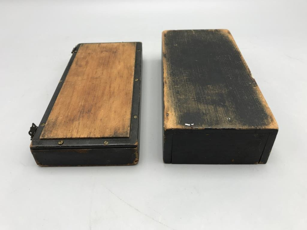 Maritime box, small pine box, painted black with - 4