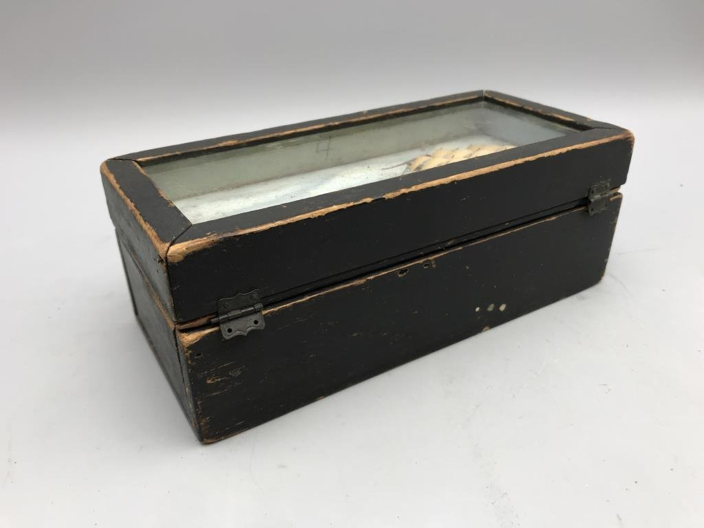 Maritime box, small pine box, painted black with - 6