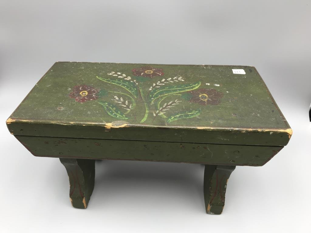 Painted foot stool - 2