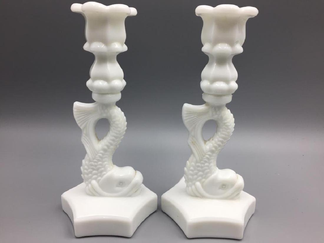 Milk glass candlesticks and compote