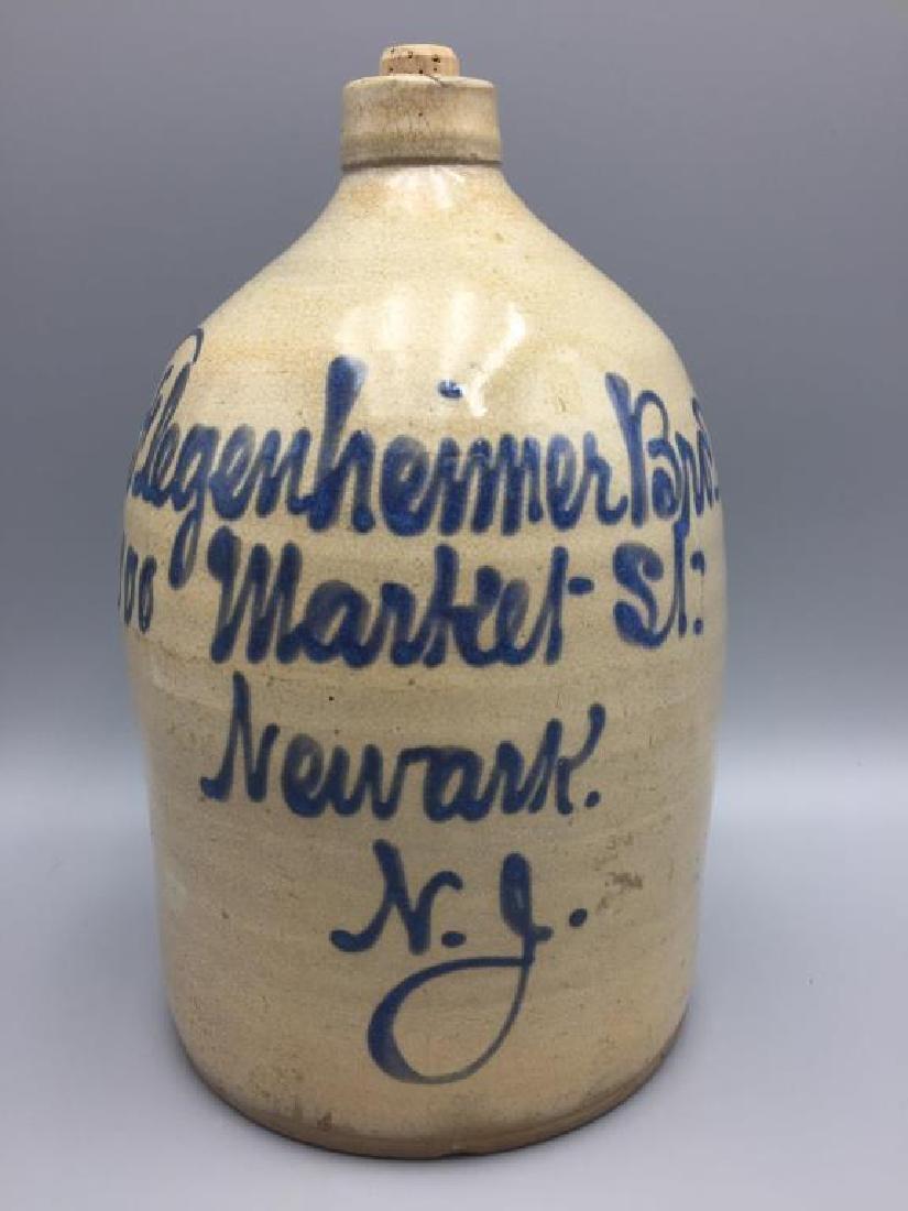 Flegenheimer bros blue decorated stoneware jug