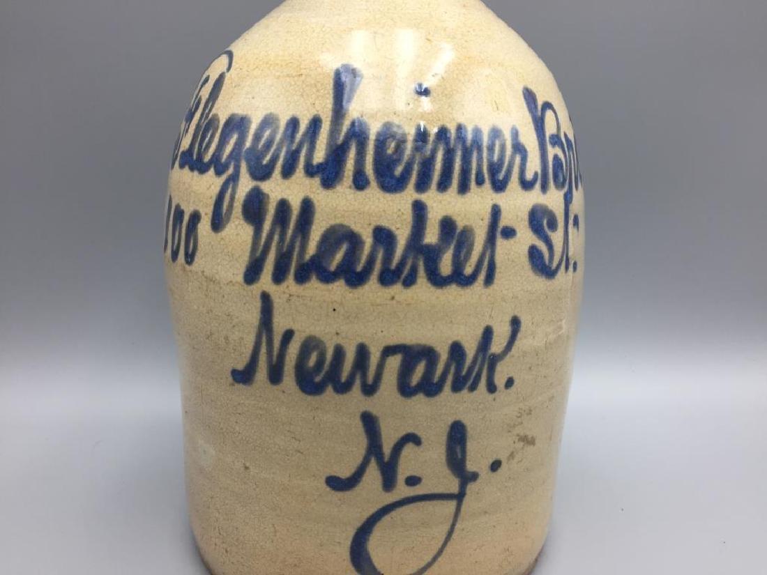 Flegenheimer bros blue decorated stoneware jug - 2