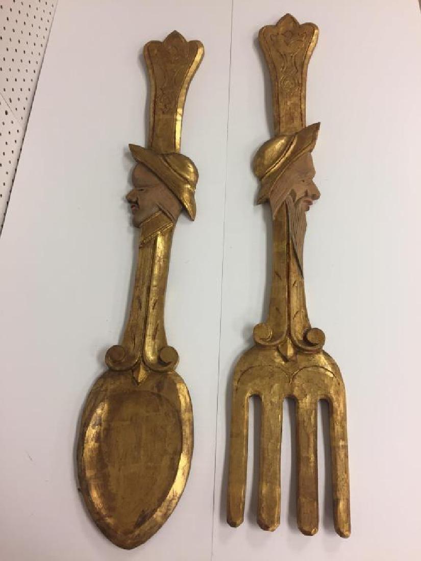 Wooden folk art gilt decorate spoon & fork