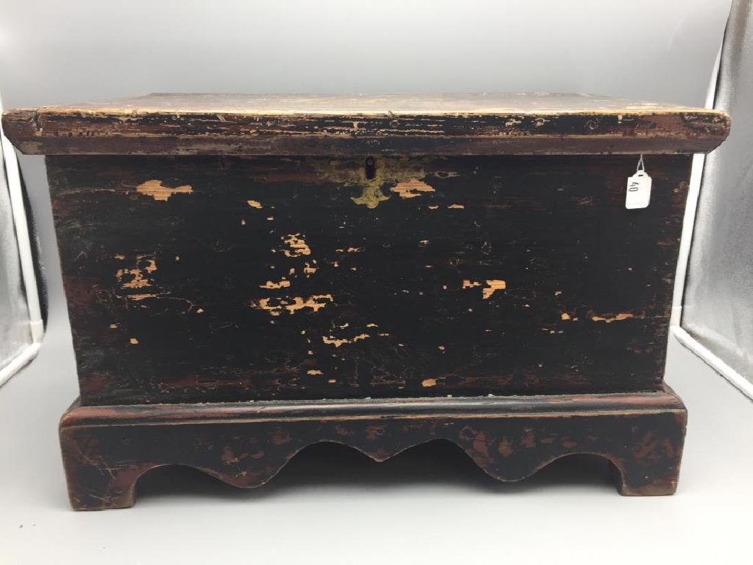 Miniature wooden blanket chest painted
