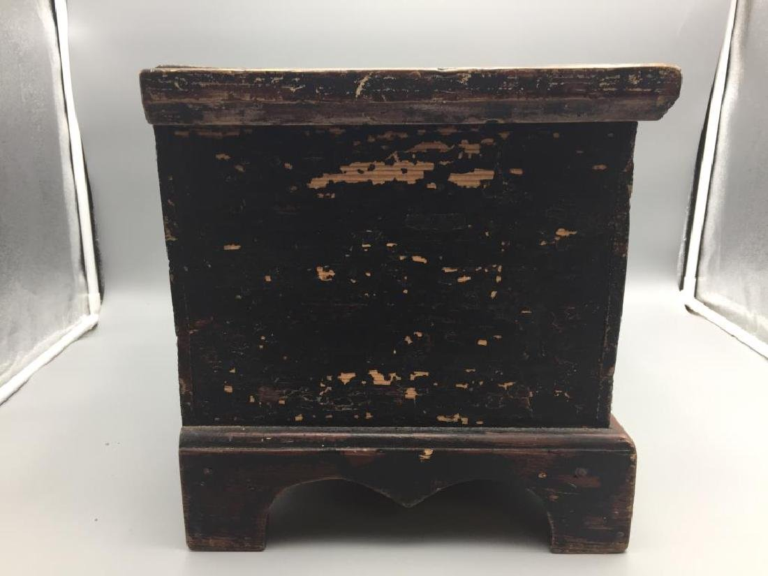Miniature wooden blanket chest painted - 4