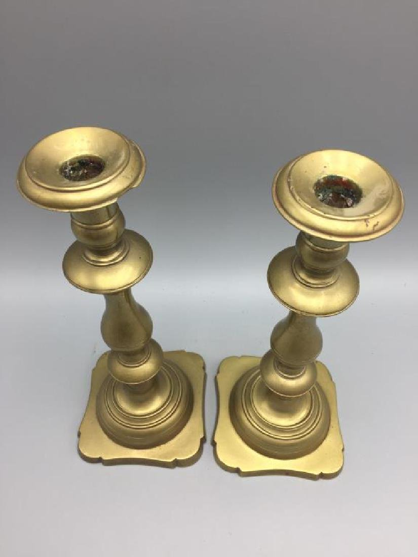 Four brass candlesticks - 3