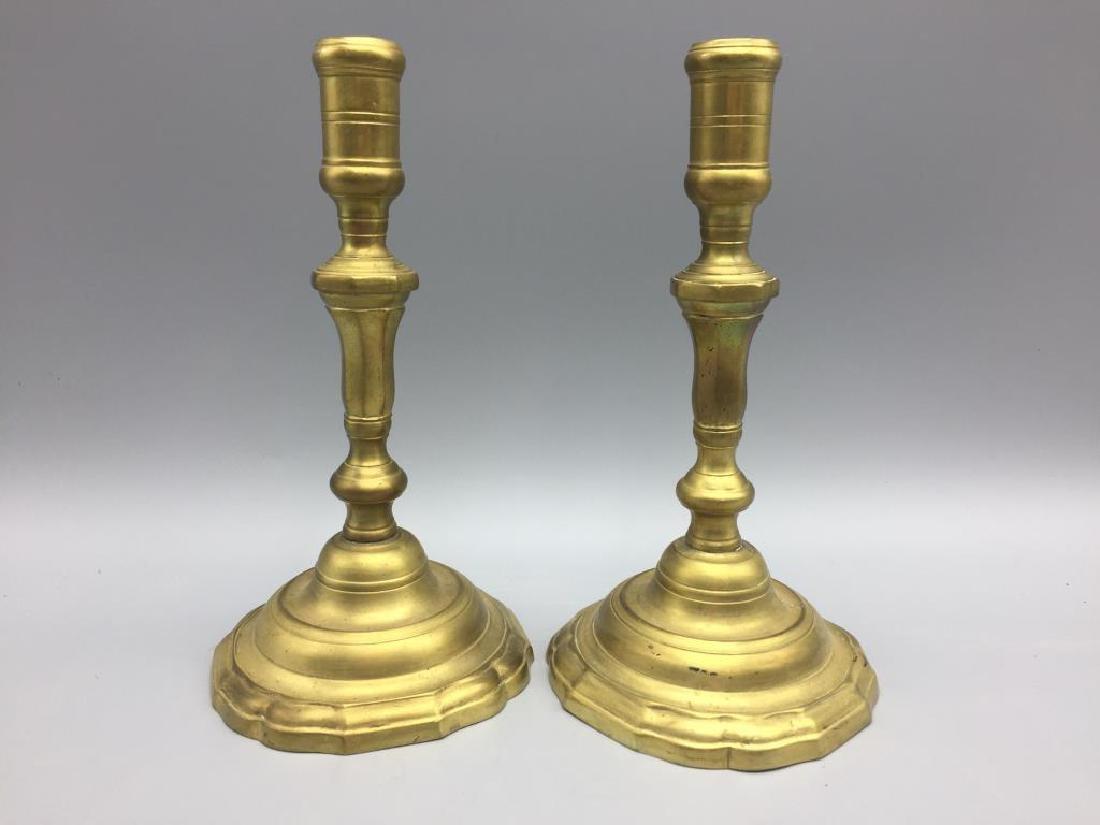 2 set of matching brass candlesticks - 2