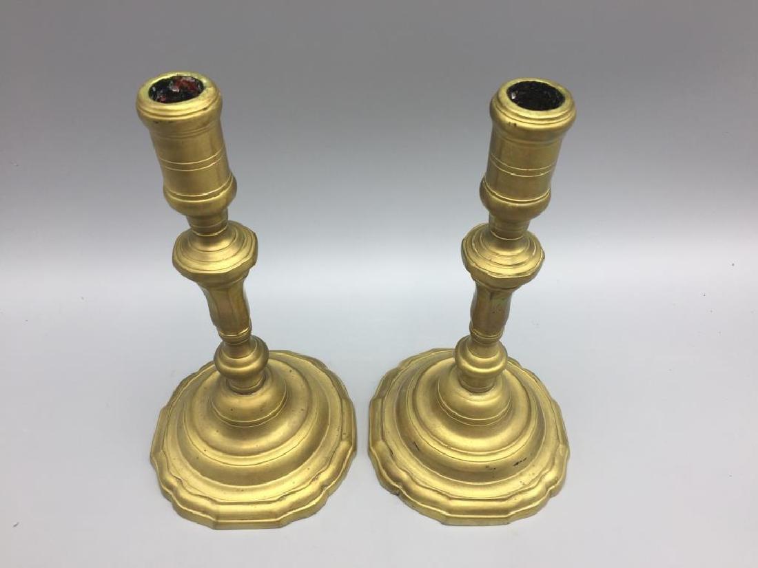 2 set of matching brass candlesticks - 3