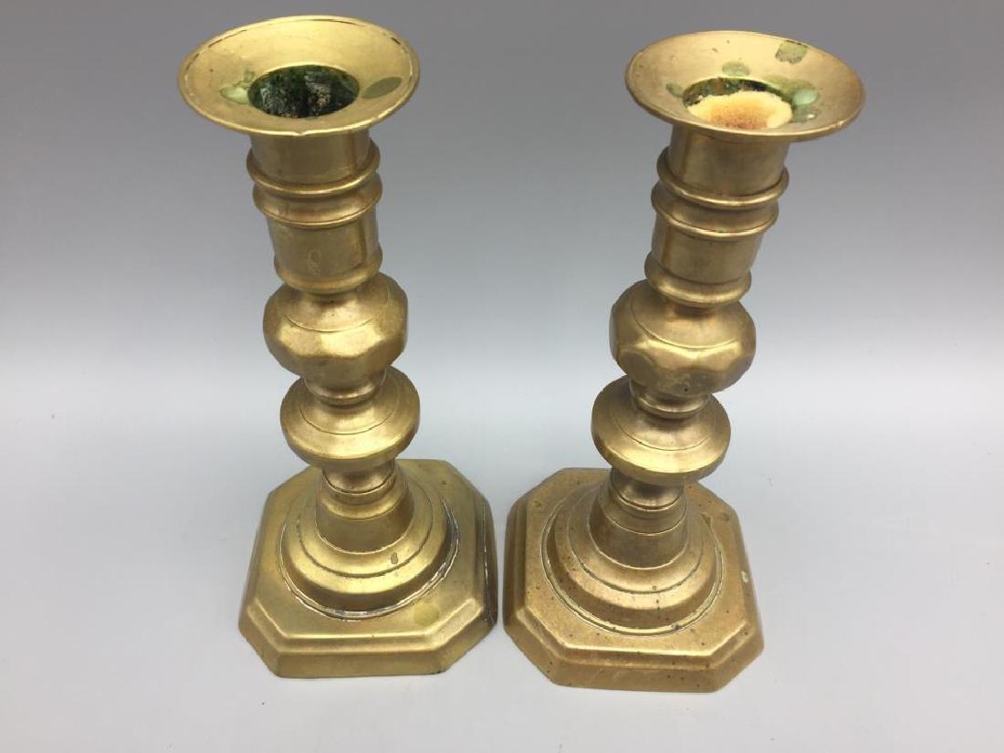 2 set of matching brass candlesticks - 6