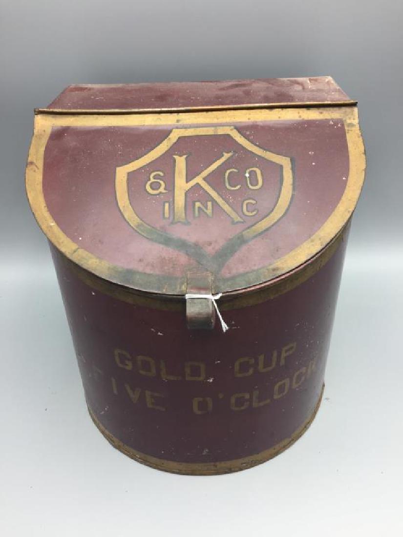 Golden Cup 5 O'clock tin coffee countertop bins