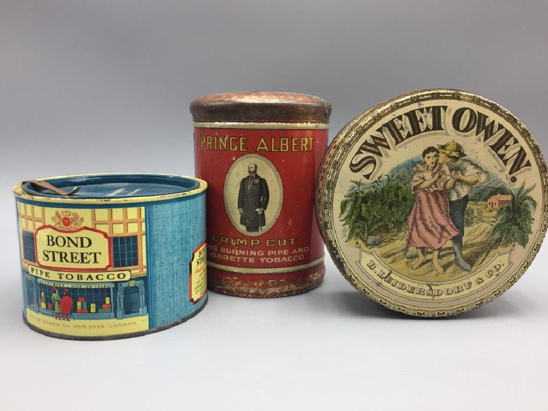 3 Tin tobacco cans