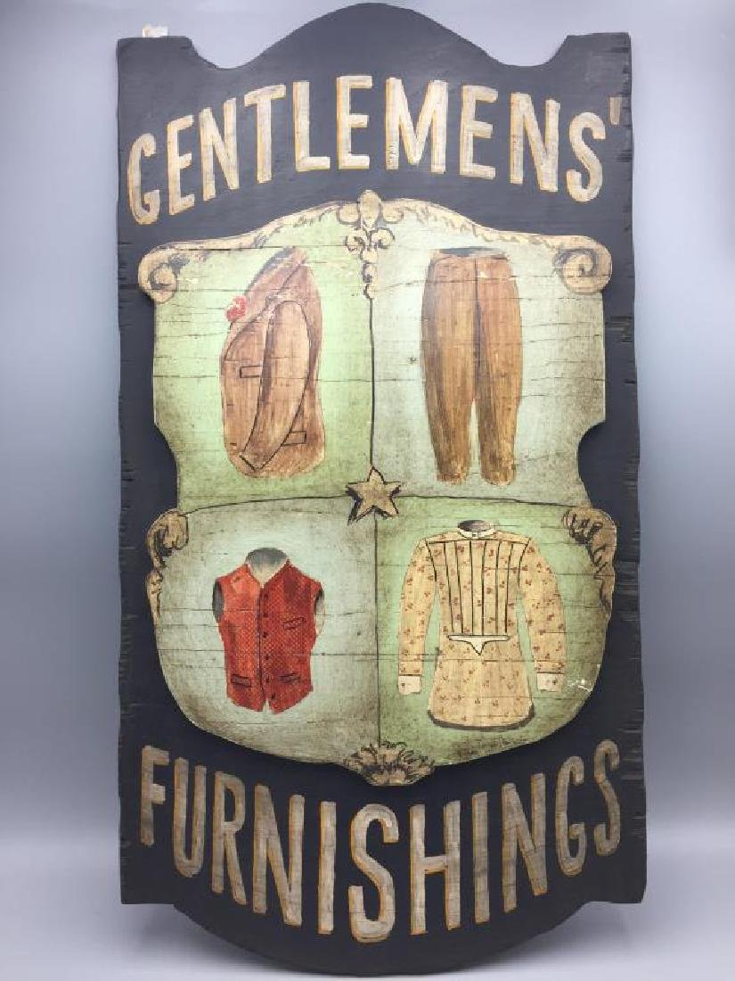 Gentlemen's Furnishings wooden sign