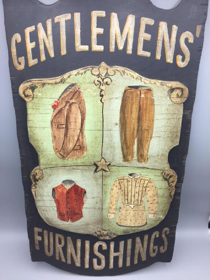 Gentlemen's Furnishings wooden sign - 2