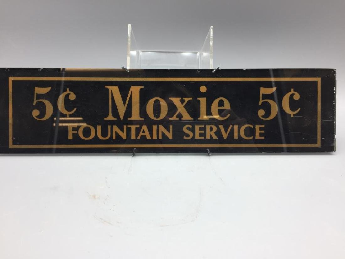Glass 5 cents Moxie Sign