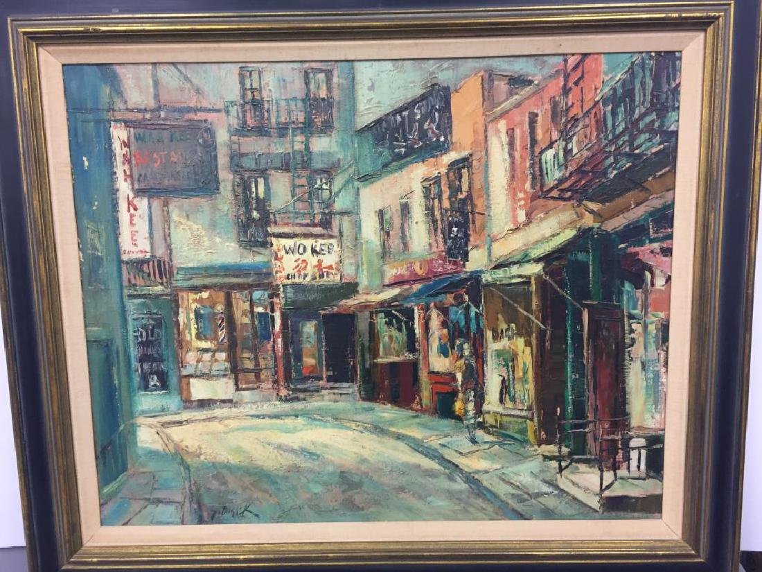 Stanley Sobossek oil on canvas City Street