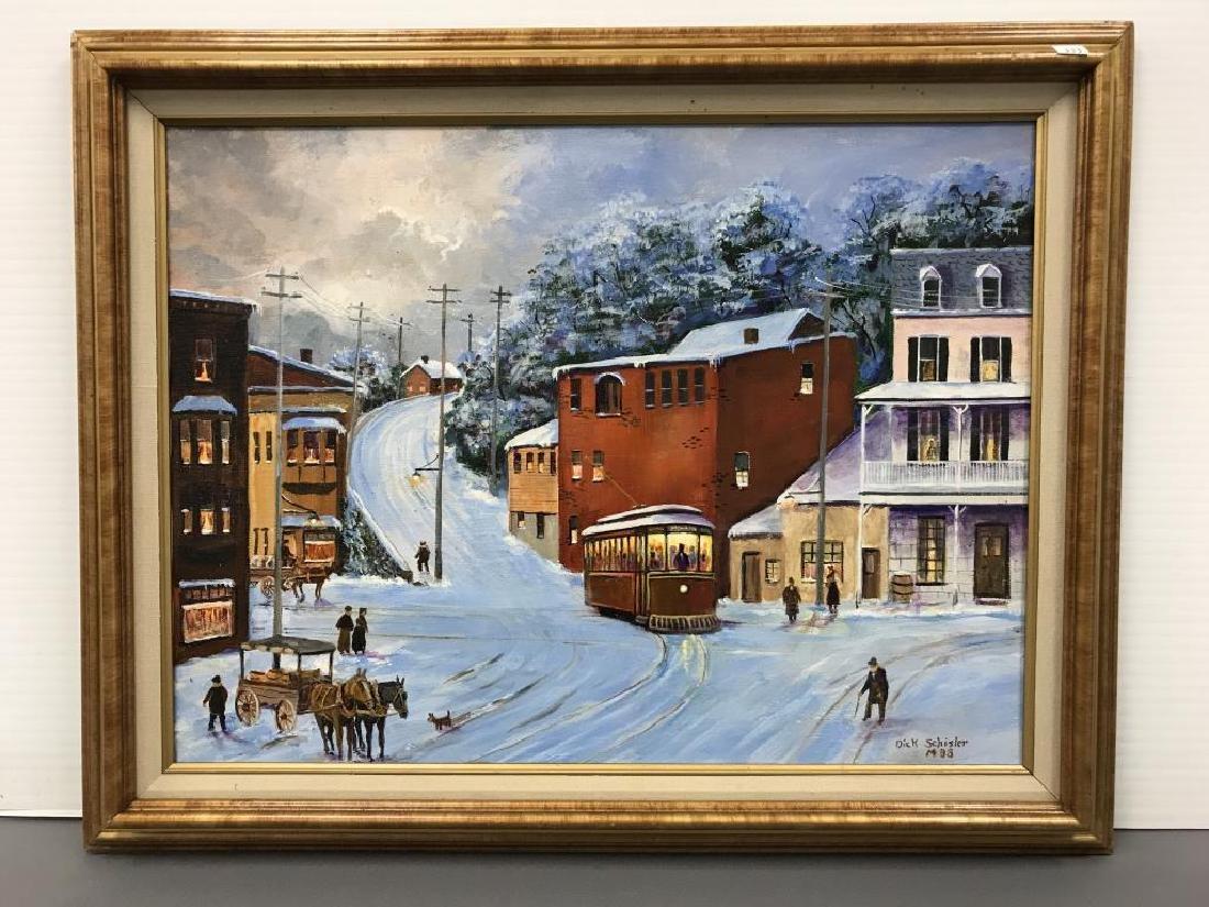 Oil on canvas, Dick Schisler snow scene