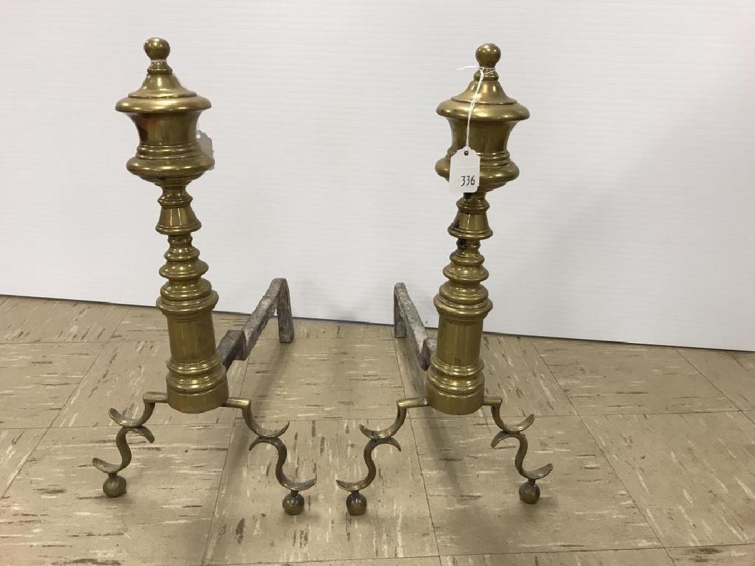 Pair antique brass andirons