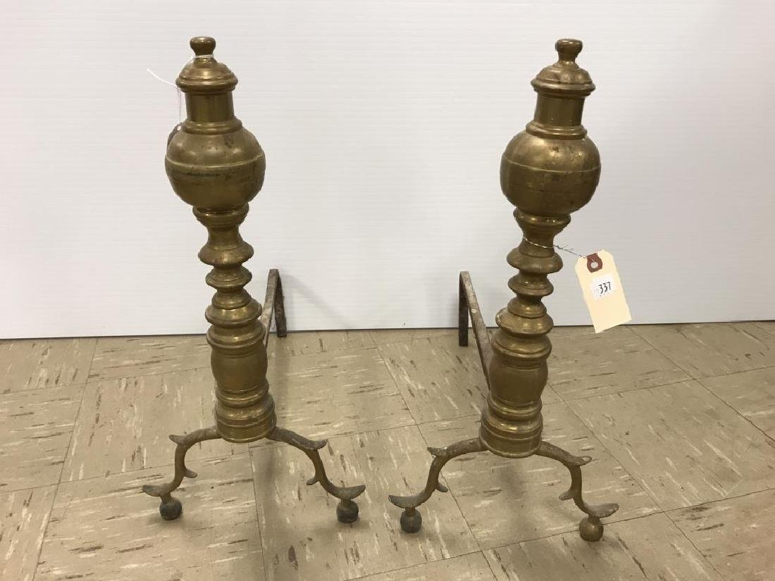 Pair Antique brass andirons and fender - 2