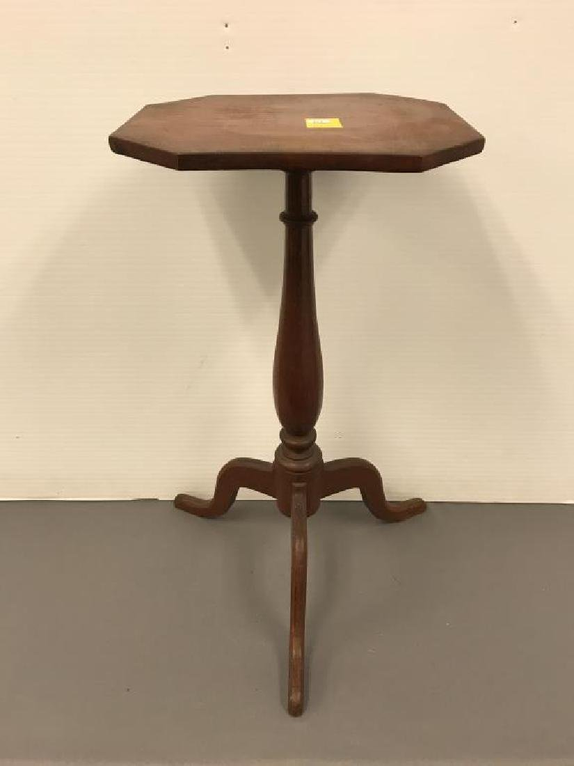 Early mixed wood candle table