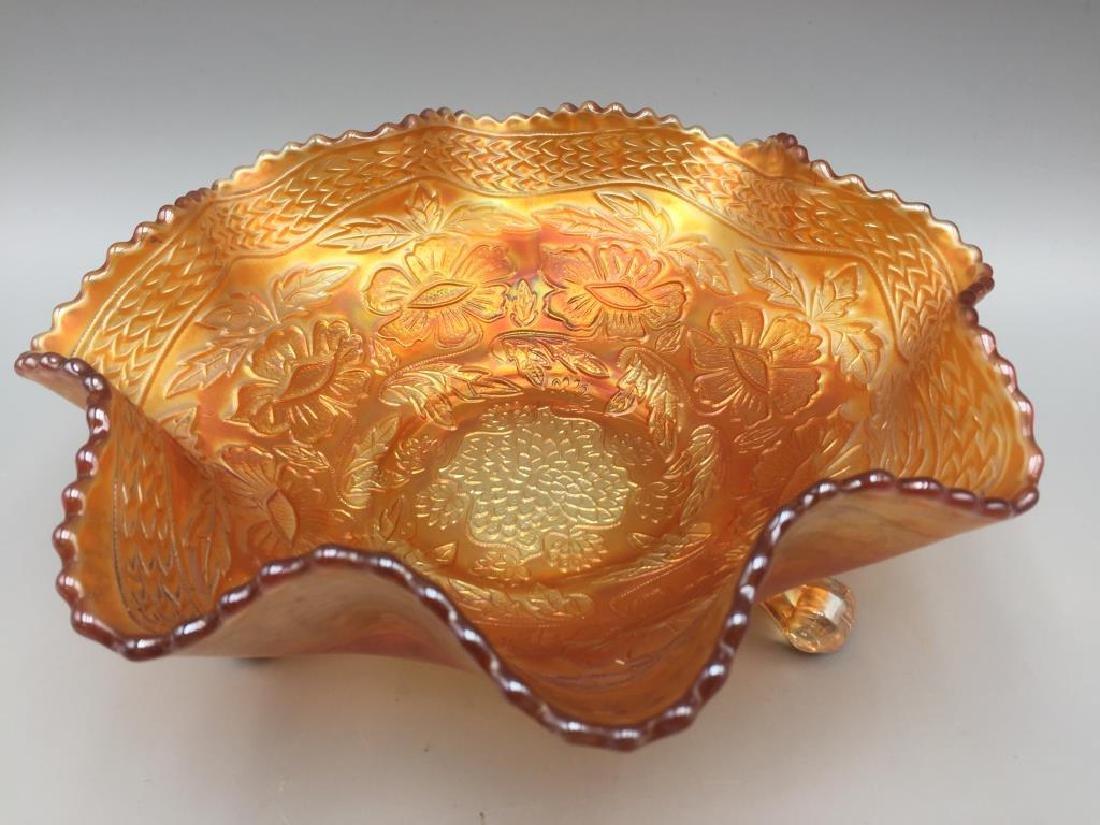 Carnival Marigold three-footed Bowl, 2 ashtrays