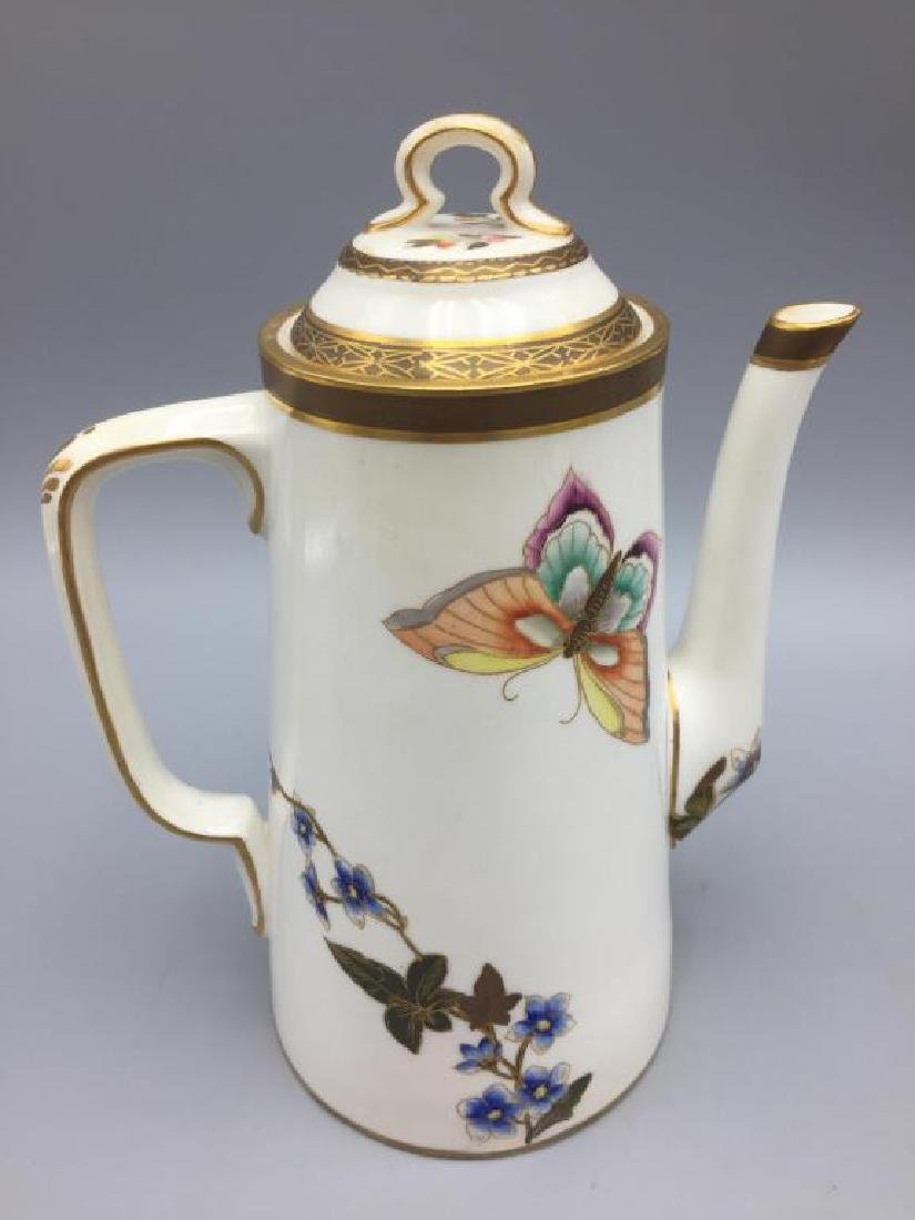 Porcelain teapot with 6 cups and saucers - 3