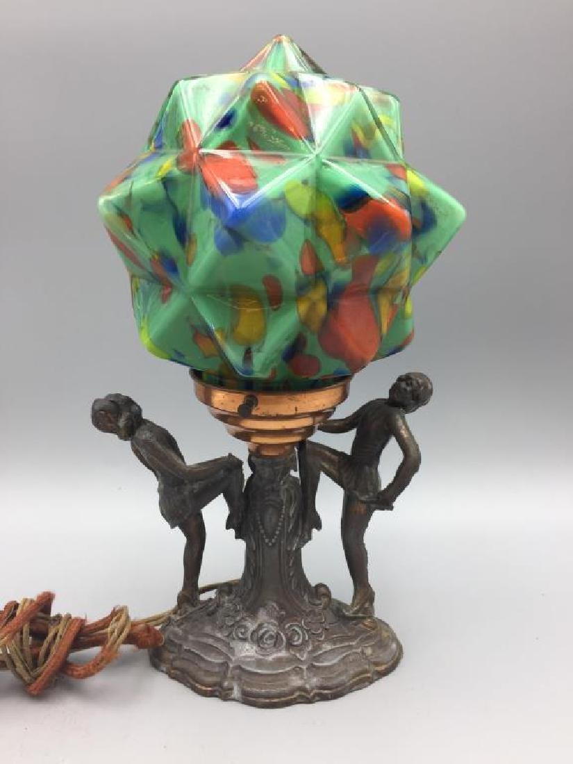 Art Deco table lamp with End-of-day glass