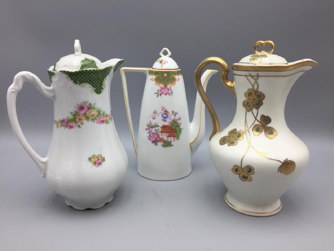 Lot of 3 porcelain chocolate pots