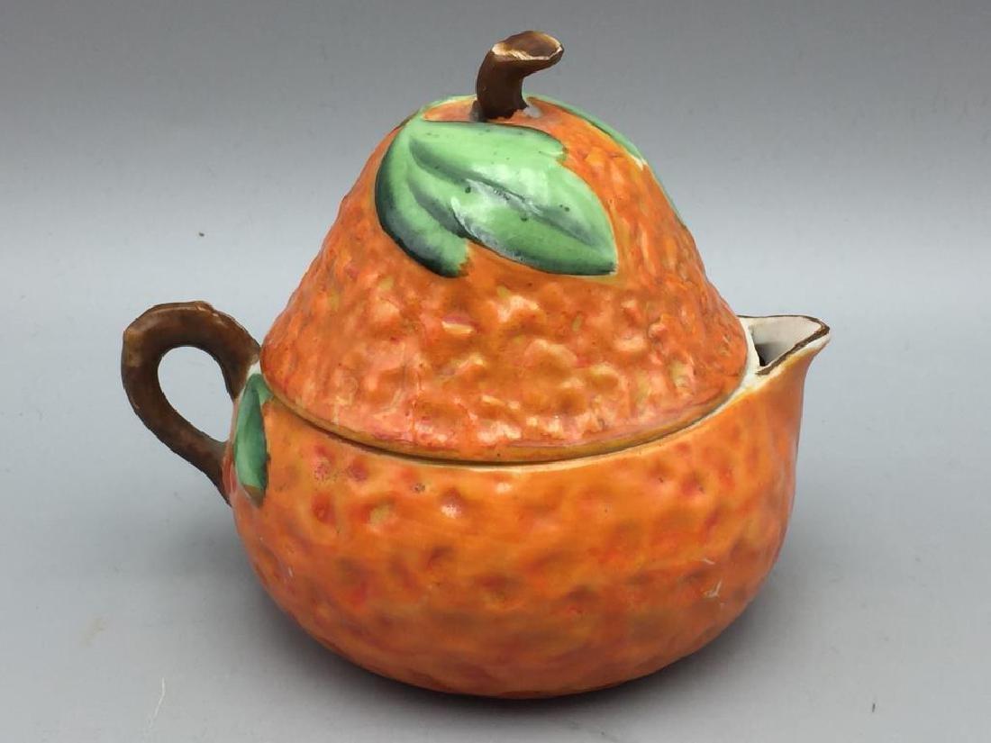 3 Orange porcelain serving pieces - 2