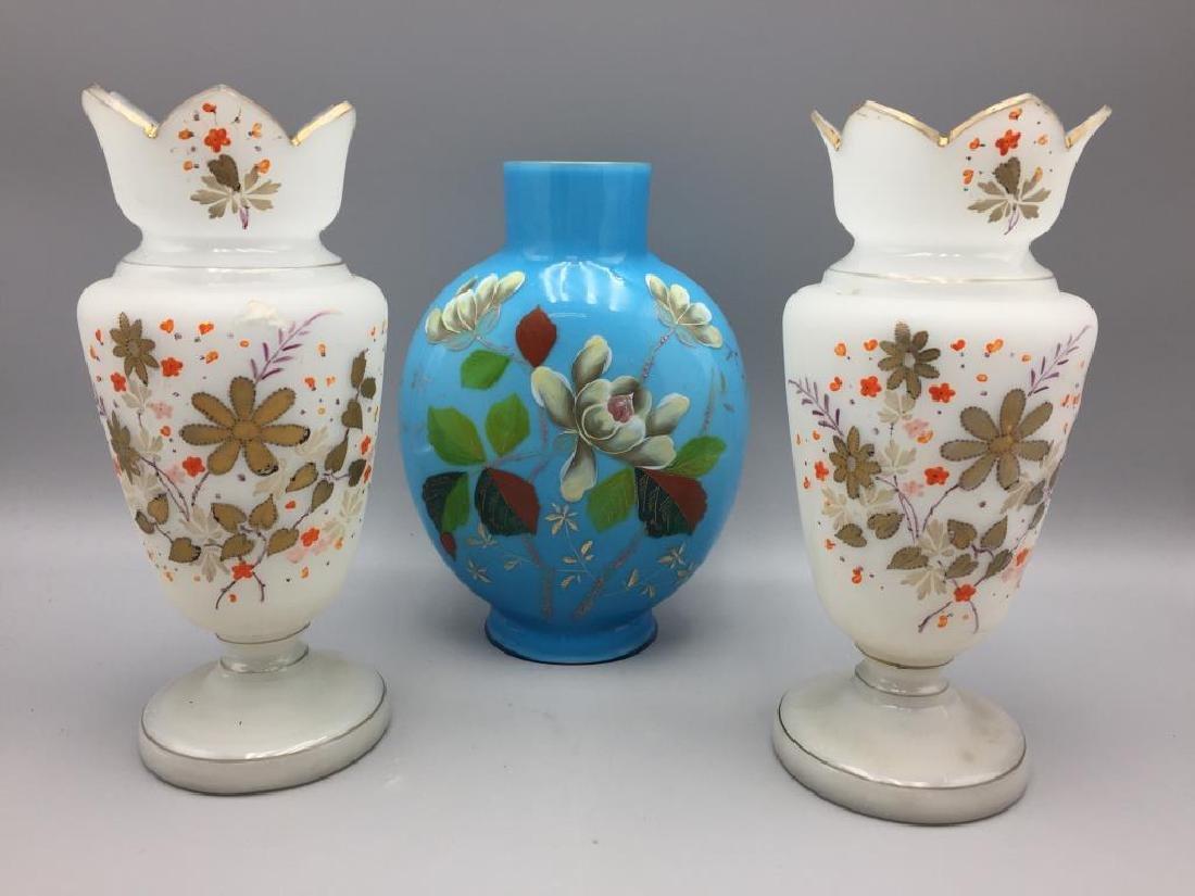 Cased glass vase and 2 Bristol vases