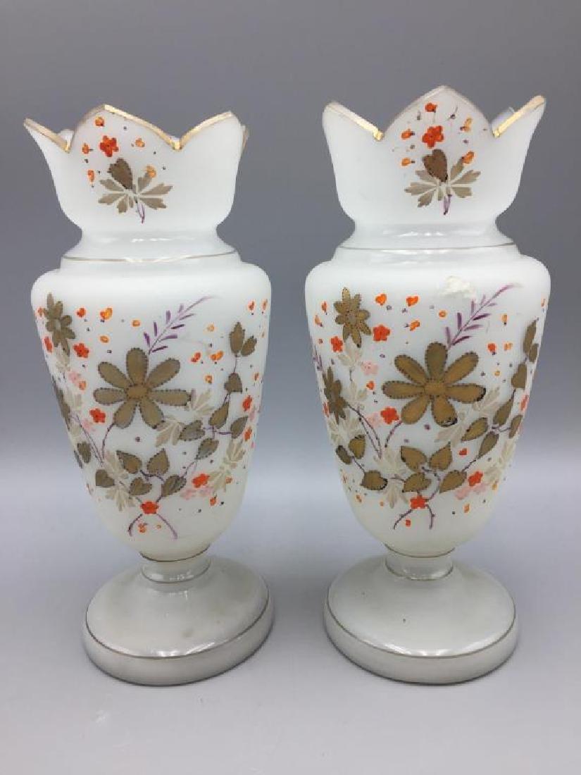 Cased glass vase and 2 Bristol vases - 5