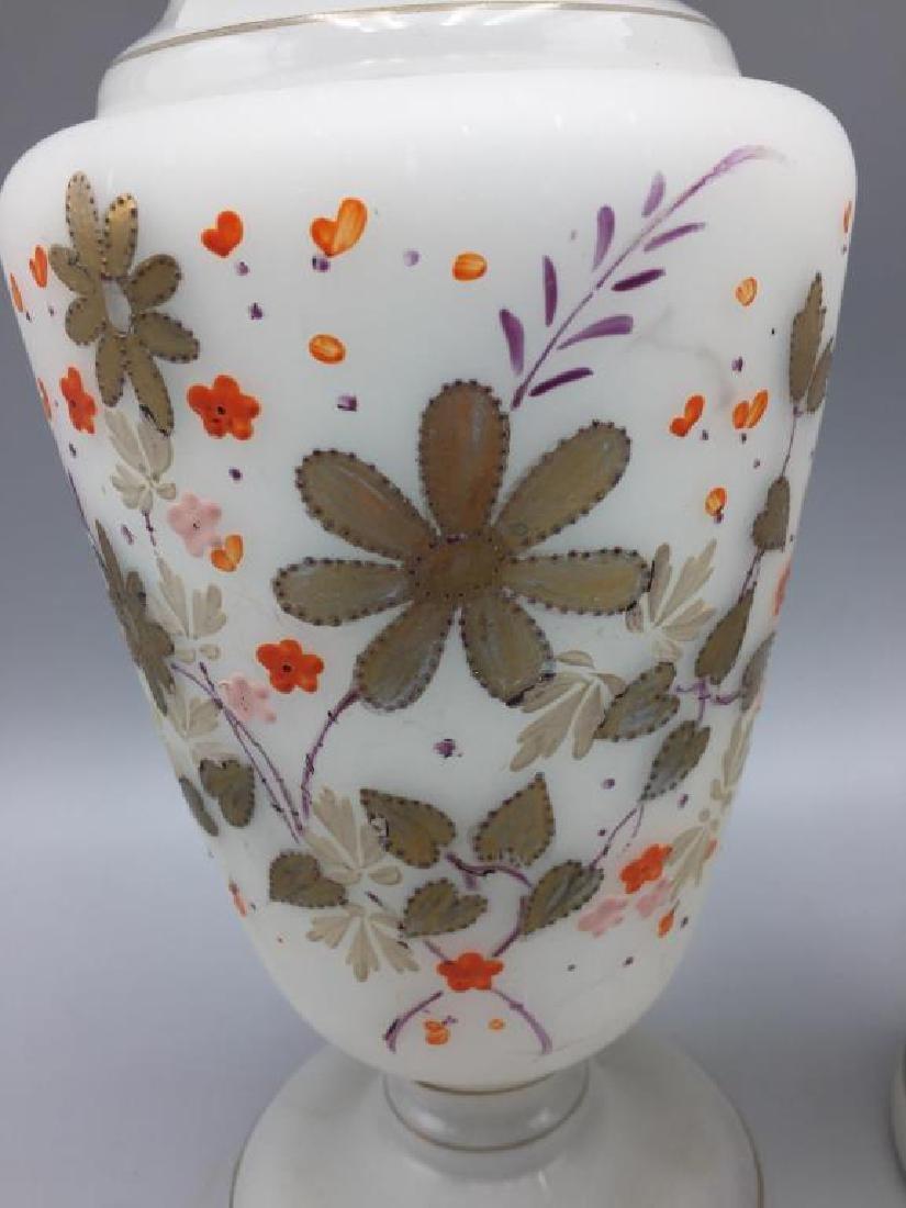 Cased glass vase and 2 Bristol vases - 6