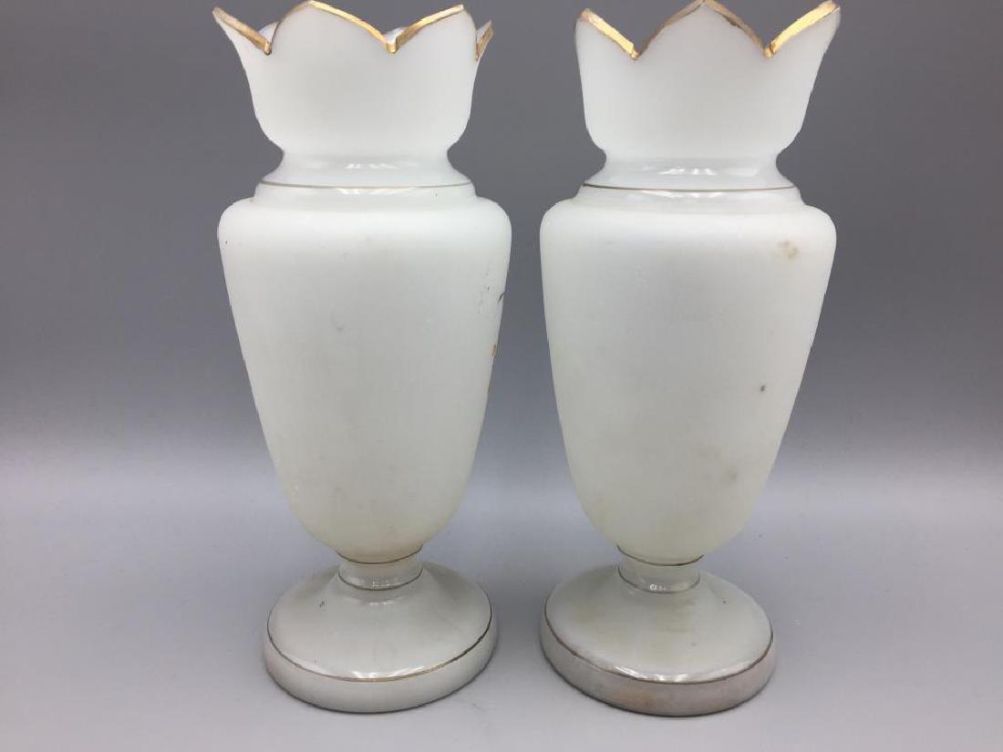 Cased glass vase and 2 Bristol vases - 7