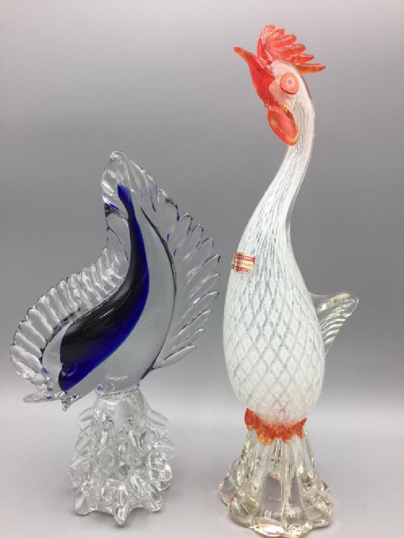 Murano glass rooster and fish