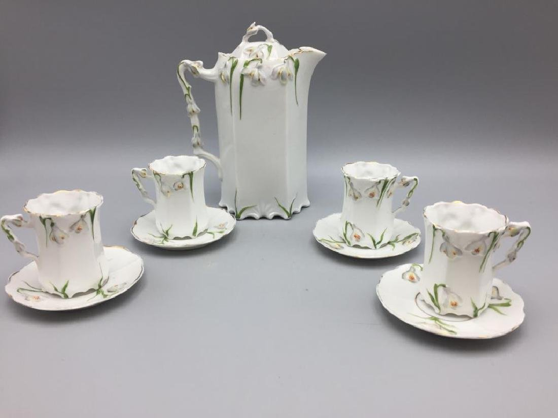Porcelain floral chocolate pot set
