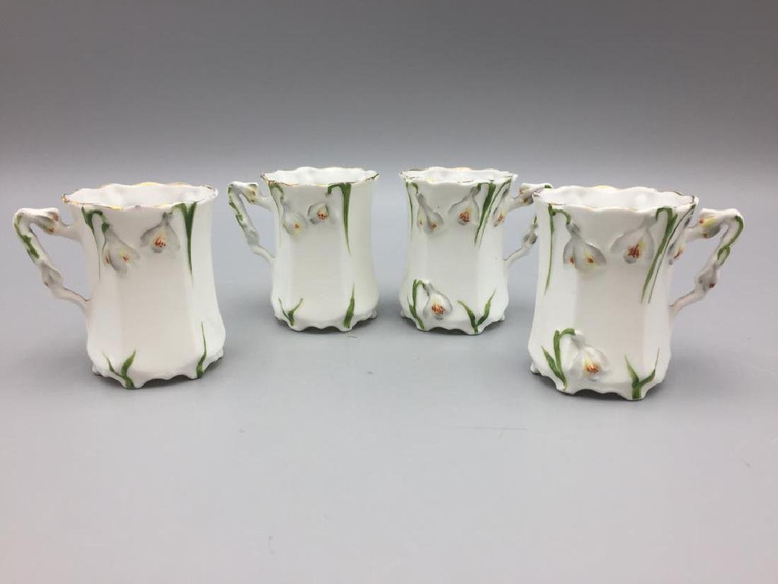 Porcelain floral chocolate pot set - 7