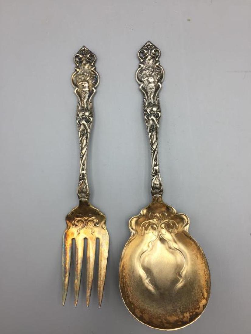 Ornate Sterling serving fork and spoon