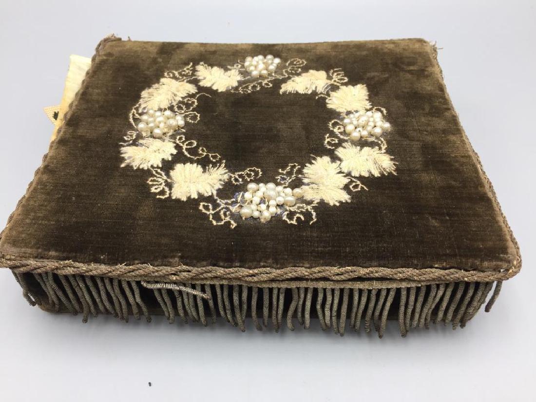 Victorian dresser box w/ hand sewn samples