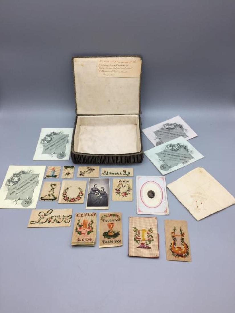 Victorian dresser box w/ hand sewn samples - 2